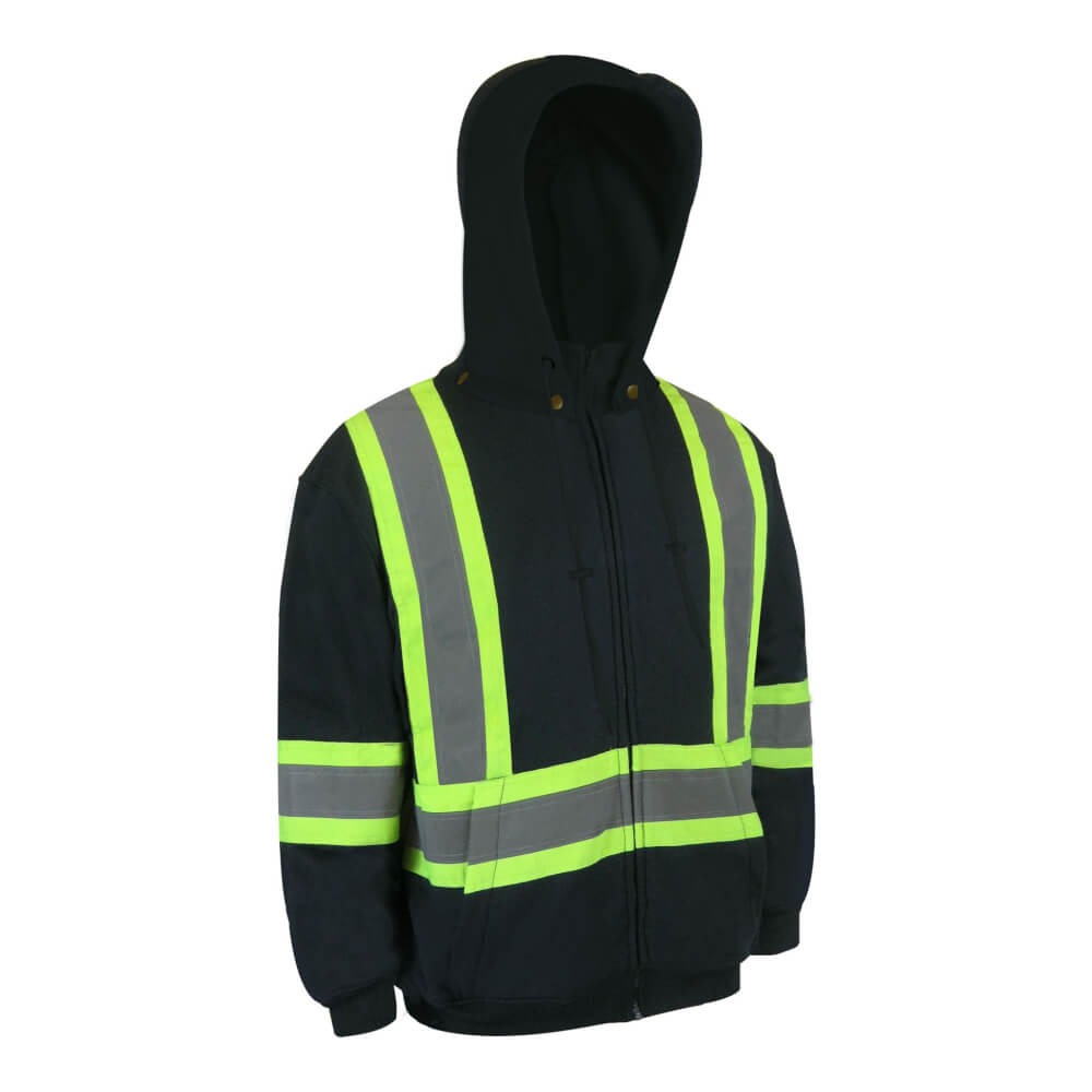HOODED POLYESTER JACKET WITH REFLECTIVE STRIPES