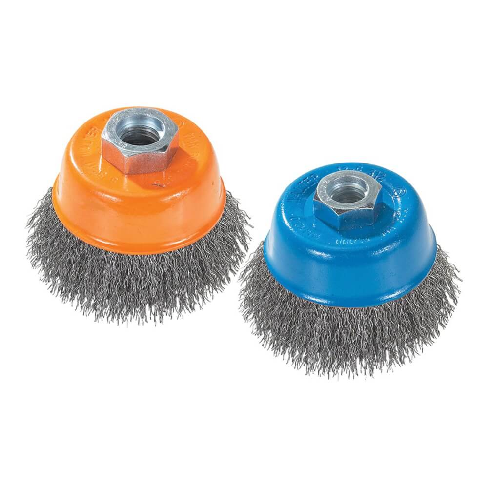 Cup brush crimped wires