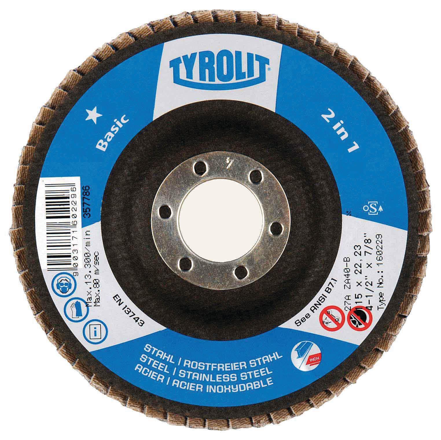"4-1/2"" x 7/8"" Tyrolit Basic 2 in 1 Zirconia Flap Disc"