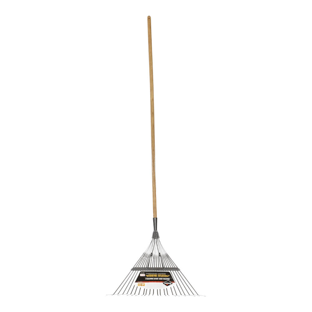 Springback lawn rake, 22 tines, industrial grade, wooden hdle