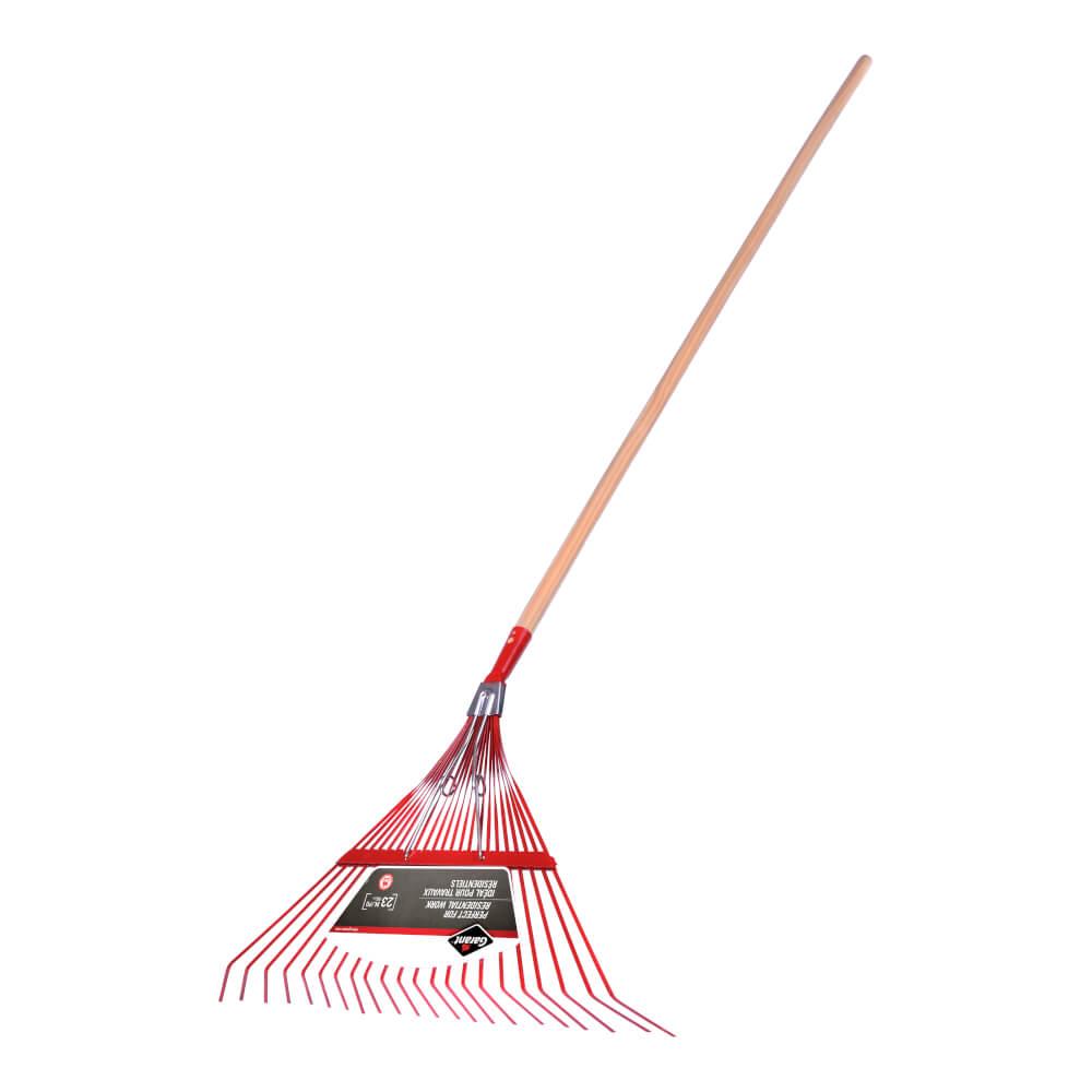 Springback lawn rake, 22 steel tines, hardwood hdle