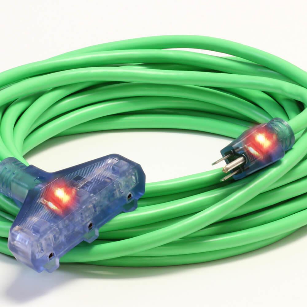 50' 12/3 SJTW Pro Star Tri Tap Ext Cord Green