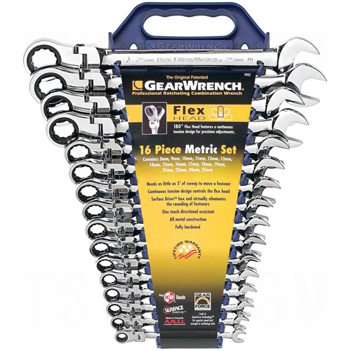 Flexible Ratcheting Wrench Set - 16 Pieces